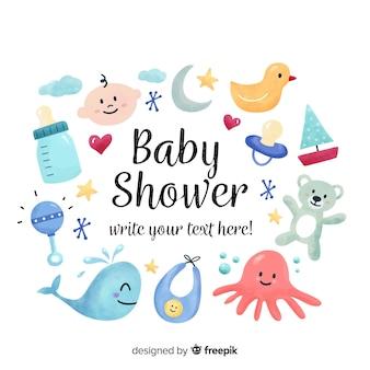 Composición adorable de baby shower dibujada a mano