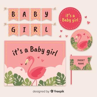 Composición adorable de baby shower con diseño plano