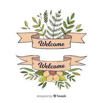Composición adorable de bienvenida dibujada a mano