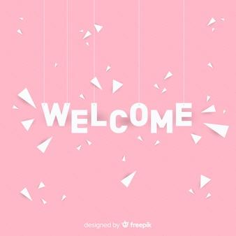 Composición adorable de bienvenida con estilo de origami