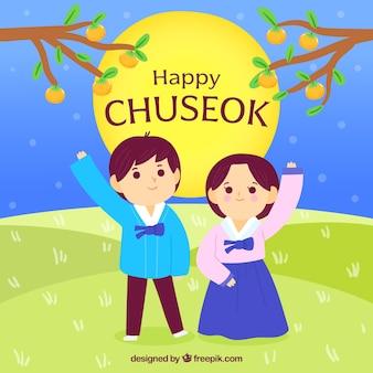 Composición adorable de chuseok dibujada a mano