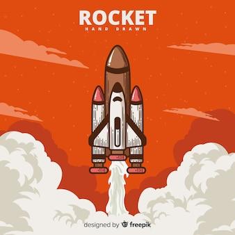Composición adorable de cohete espacial dibujado a mano