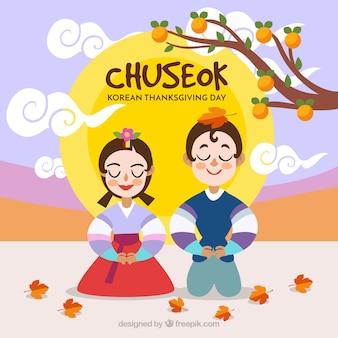 Composición adorable de chuseok con diseño plano