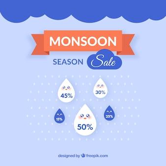 Composición adorable de rebajas de la época del monzón