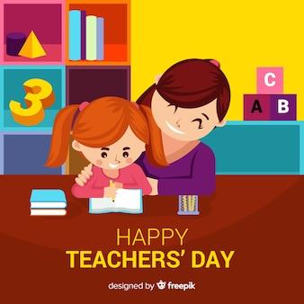Composición adorable del día de los profesores con diseño plano