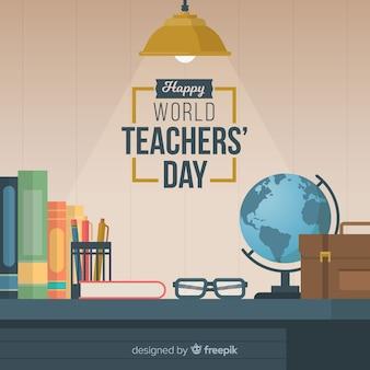 Composición adorable del día del profesor con diseño plano