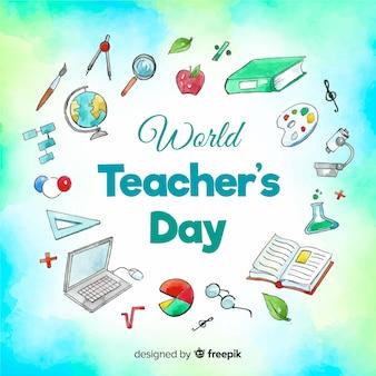 Composición adorable del día mundial del profesor en acuarela