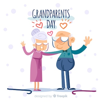 Composición adorable del día de los abuelos dibujada a mano
