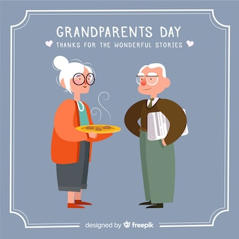 Composición adorable del día de los abuelos con diseño plano