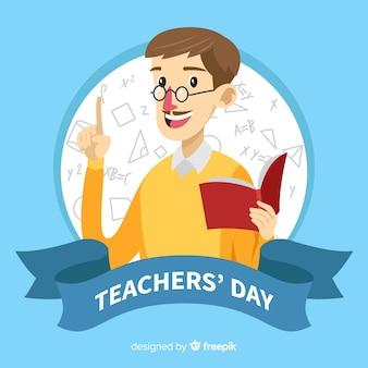 Composición adorable del día mundial del profesor con diseño plano