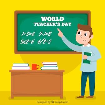 Composición adorable del día mundial de los profesores con diseño plano