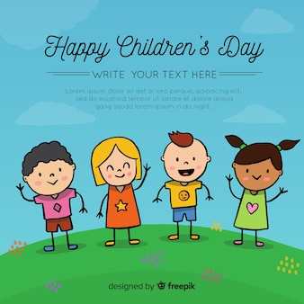 Composición adorable del día de los niños dibujada a mano