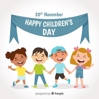 Composición adorable del día de los niños con diseño plano