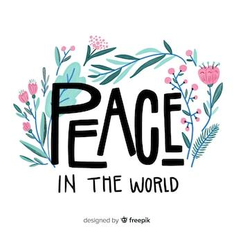 Composición adorable del día de la paz con letras bonitas