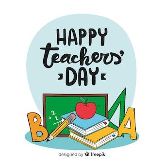 Composición adorable del día del profesor dibujada a mano
