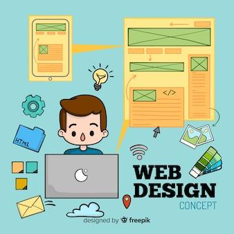 Composición adorable de diseño web dibujada a mano