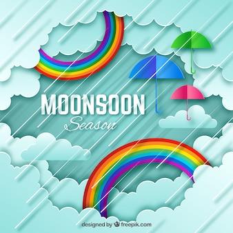 Composición adorable de la época del monzón con estilo de origami