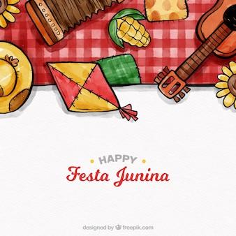 Composición adorable de festa junina en acuarela