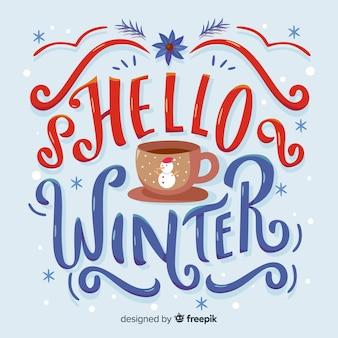 Composición adorable de invierno con tipografía adorable