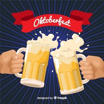 Composición adorable del oktoberfest con diseño plano