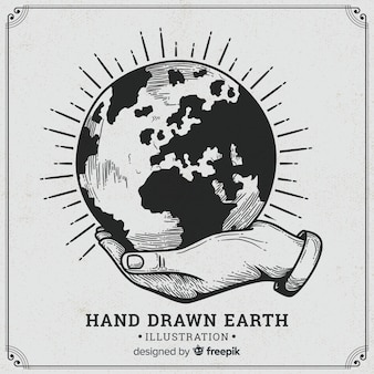 Composición adorable del planeta tierra dibujada a mano