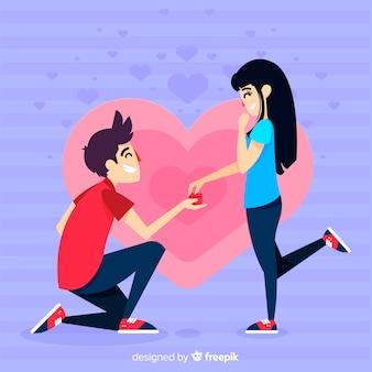 Composición adorable de proposición de matrimonio con diseño plano