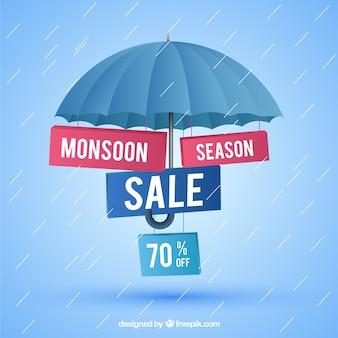Composición adorable de rebajas del monzón con diseño realista