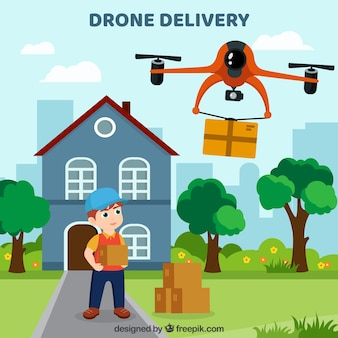 Composición adorable de reparto con drone