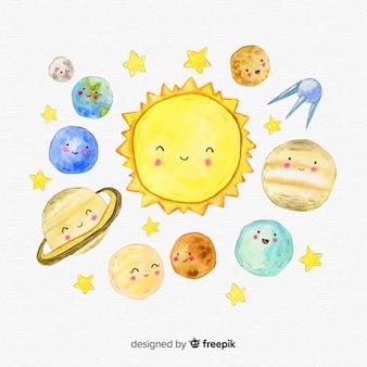 Composición adorable de sistema solar en acuarela