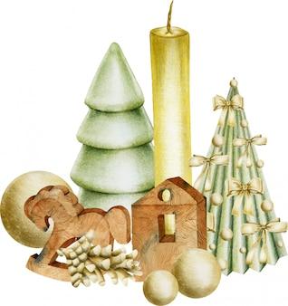 Composición de adornos navideños (velas, juguetes de madera, árboles de navidad)