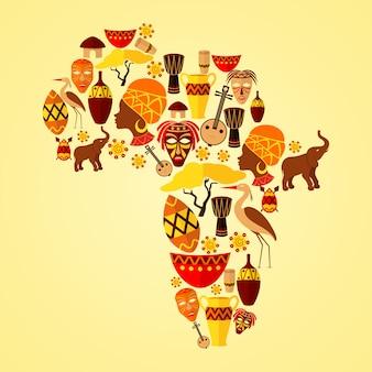 Composición de áfrica con elementos.
