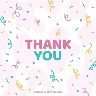 Composición de agradecimiento dibujada a mano con confeti