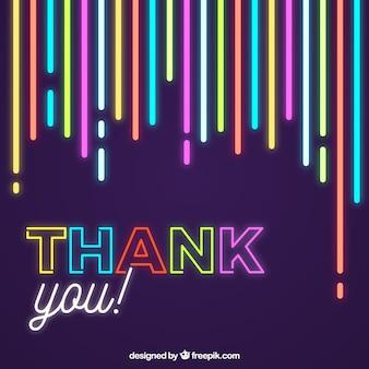 Composición de agradecimiento con estilo de luces de neón