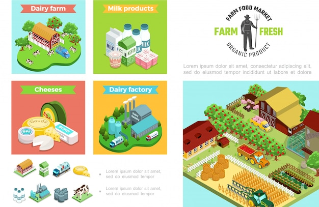 Composición de agricultura y ganadería con productos de fábrica de productos lácteos casa animales árboles de manzana tractor cosecha trigo invernadero molino de viento en estilo isométrico