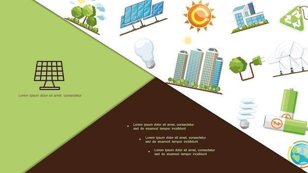 Composición de ahorro de energía plana con paneles solares, casa ecológica, edificios modernos, baterías, planeta tierra, bombillas, turbinas de viento, letrero de reciclaje, enchufe, árboles del sol