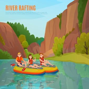 Composición al aire libre de rafting en el río