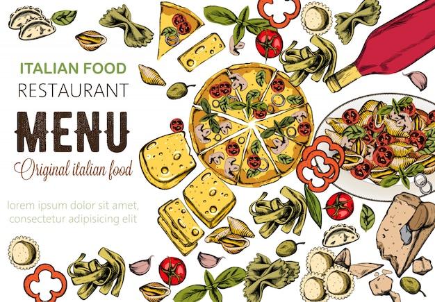 Composición de alimentos de arte lineal con deliciosa pizza, pasta con tomate, queso y vino tinto.