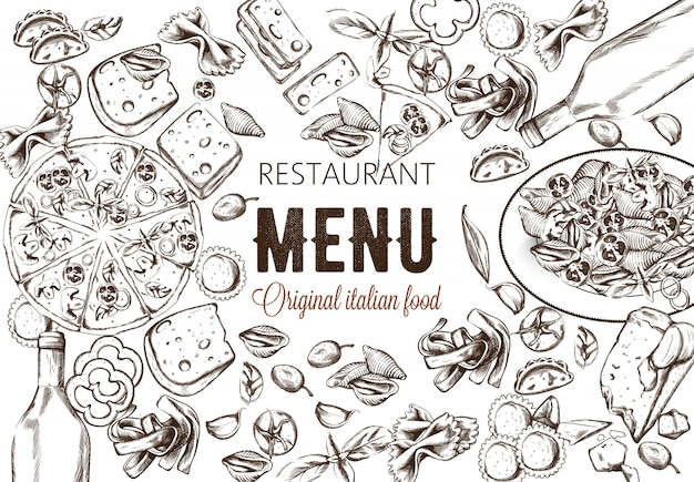 Composición de alimentos de arte lineal con deliciosa pizza, pasta con tomates