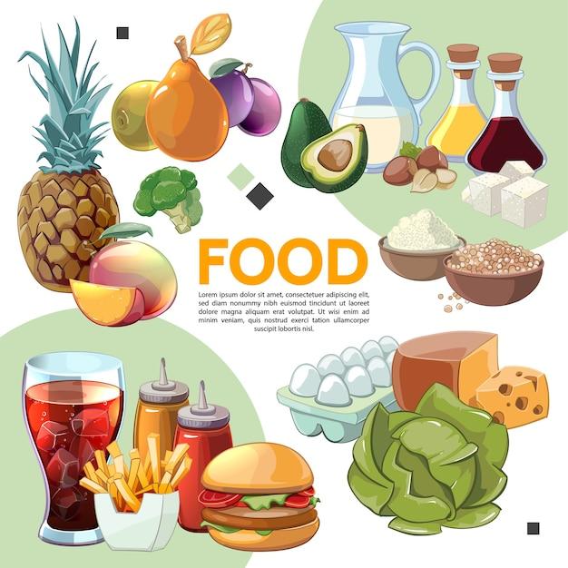 Composición de alimentos coloridos dibujos animados