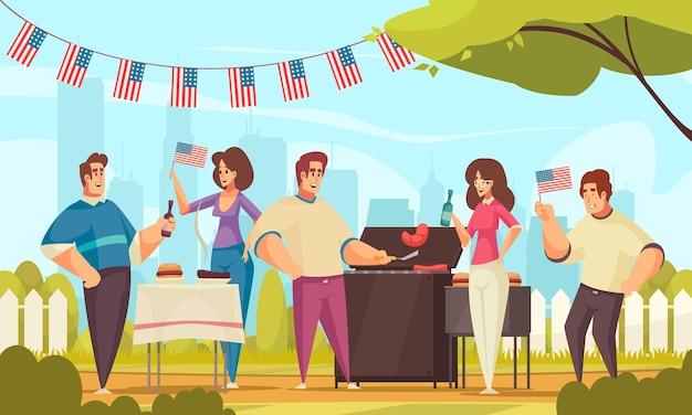 Composición de américa del día de la independencia de barbacoa con paisaje al aire libre y grupo de amigos pasando un buen rato al aire libre ilustración