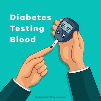 Composición de análisis de sangre para diábeticos dibujada a mano