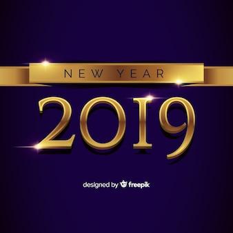 Composición de año nuevo 2019 con estilo dorado