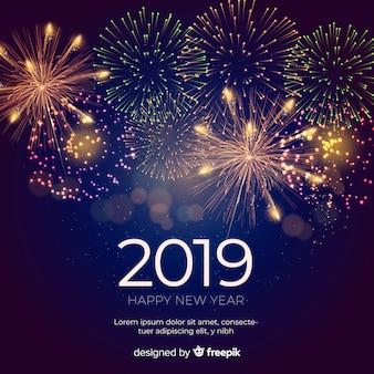 Composición de año nuevo 2019 con fuegos artificiales