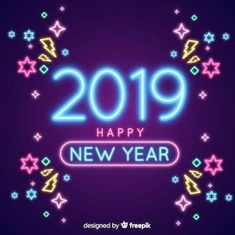 Composición de año nuevo 2019 con luces de neón