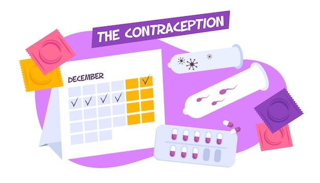 Composición de anticoncepción con calendario de períodos y varios anticonceptivos con píldoras de condones.