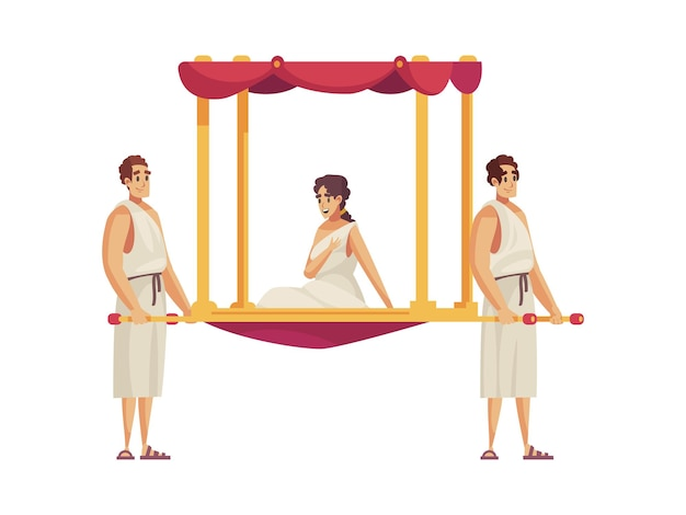 Composición de la antigua roma con dos personas que llevan a una mujer en dibujos animados de palanquín