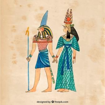 Composición del antiguo egipto en acuarela