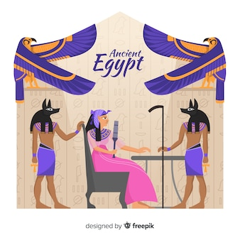 Composición del antiguo egipto dibujada a mano