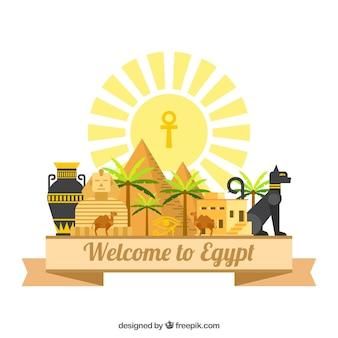 Composición del antiguo egipto con diseño plano