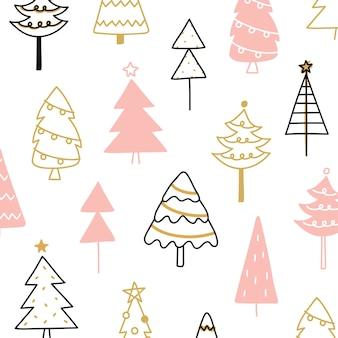 Composición del árbol de pino de navidad en el estilo de dibujo de dibujo